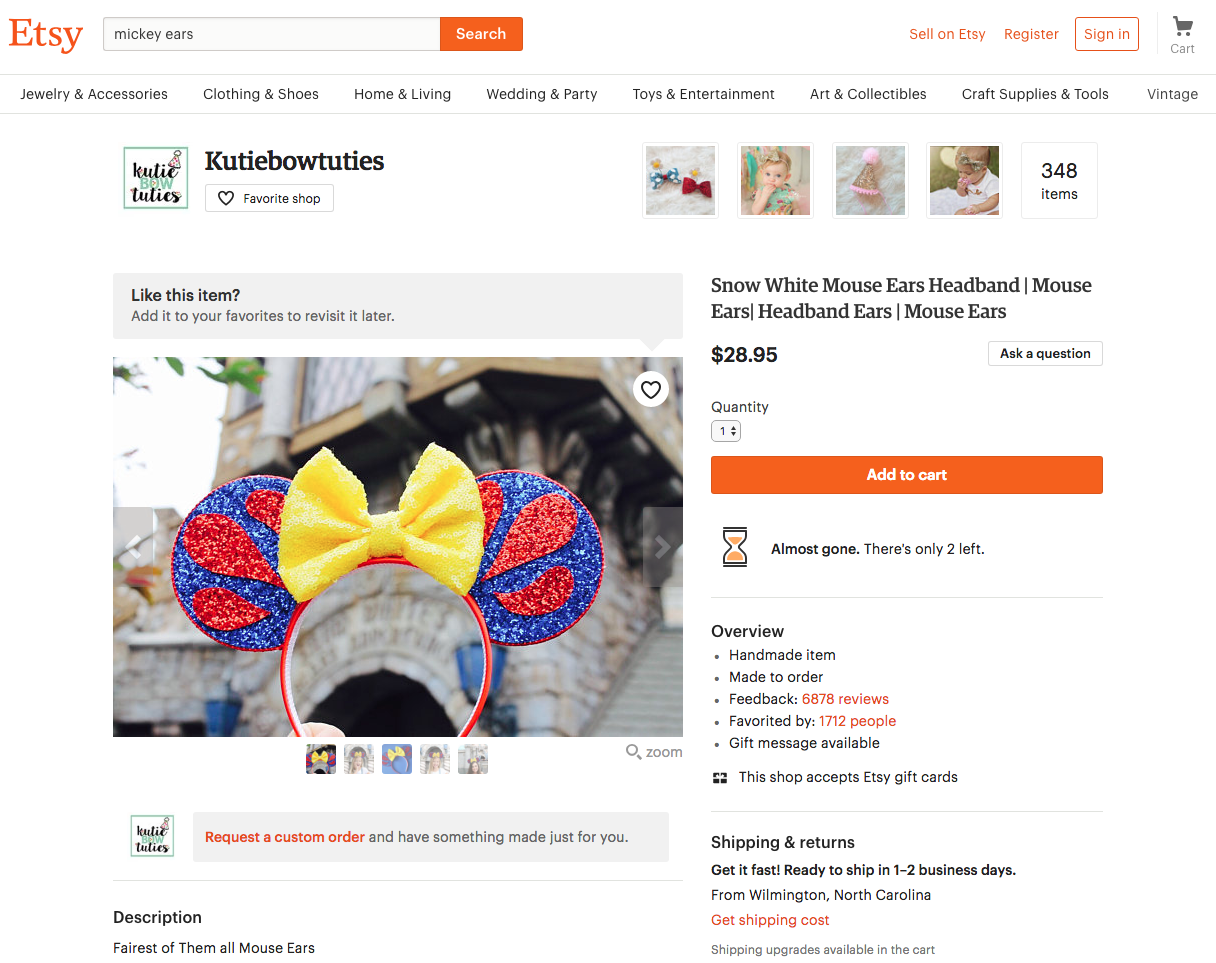 Where To Buy Mickey Ears Online - Etsy Mickey Ears