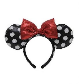disney mickey ears black polka dots with red bow sequined ears 01