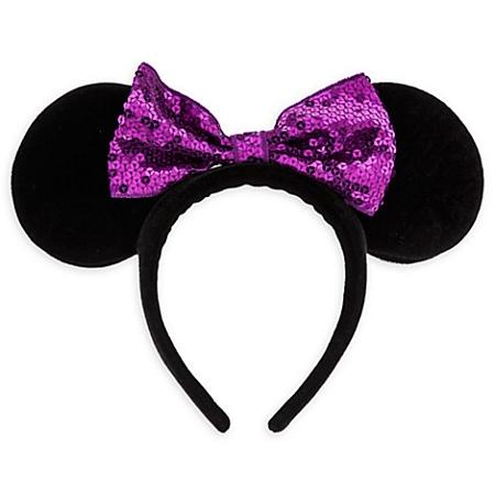 disney mickey ears black purple sequined bow ears 01