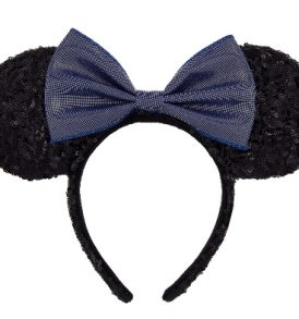 disney mickey ears black with blue bow sequined ears 01