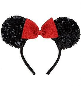 disney mickey ears black with red bow sequined ears 01
