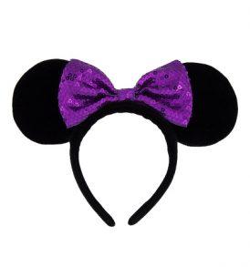 disney mickey ears fuzzy black with purple bow ears 01