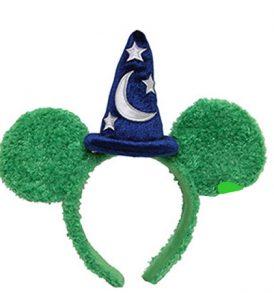disney mickey ears green fuzzy sorcerer hat ears 01