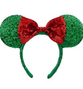 disney mickey ears holiday green red sequined ears 01
