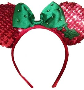 disney mickey ears holiday red green sequined ears 01
